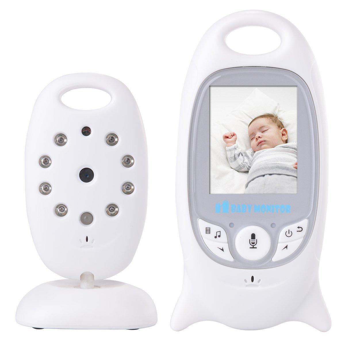 USBONLINE Baby Monitor LCD a Colori Wireless Digitale Videocamera IR LED Citofono Visione Notturna Monitoraggio Temperatura 8 Ninnananne Batteria Ricaricabile per Bambini Videosorveglianza Sicurezza product image