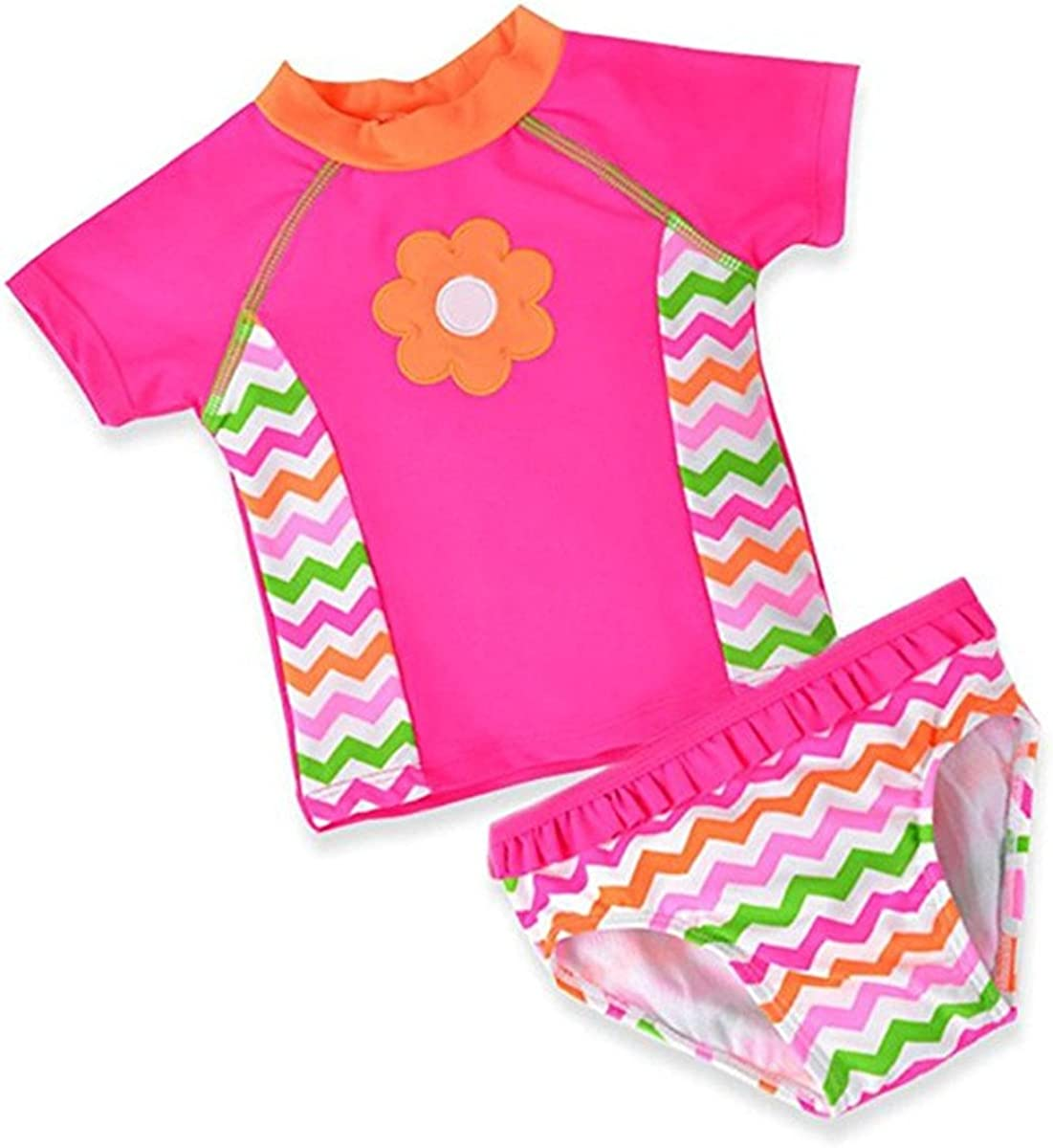 Baby Kids Girls Toddler Two Pieces Butterfly Ruffled Sun Protection Rash Guard UPF 50 UV Swimsuit