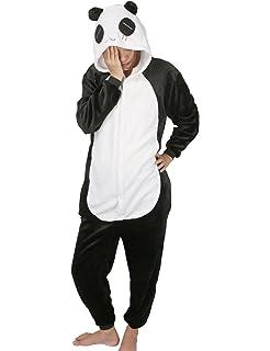e33e2fd83ea4b chuangminghangqi Surpyjama Panda Combinaison Costume Jumpsuit Flanelle  Cosplay Soiree de Deguisements Halloween pour Adulte Unisexe