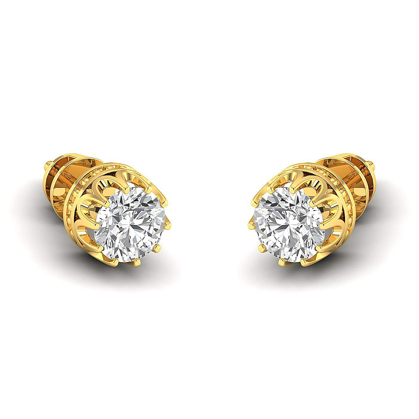 Stud Earrings for Women perfect Jewelry Gifts for Women Teen Girls GH//VVS Round Brilliant Earring Studs 0.3 to 4 Carat Moissanite Stud Earrings 14K yellow-gold