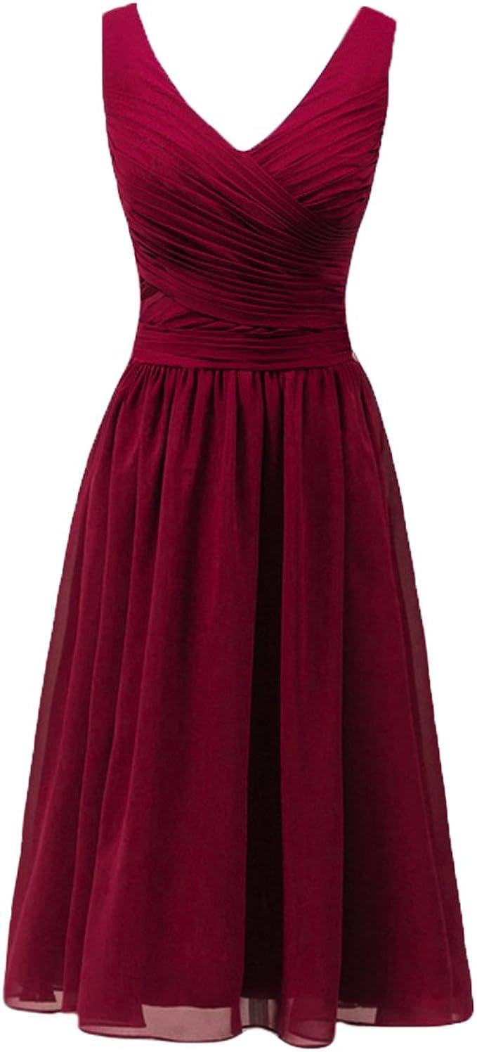 Bridal_Mall Damen V-Ausschnitt Knielang Chiffon Mutter der Braut  Brautjungfernkleid Abendkleid