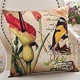 ZZYHOME-American Creative Sofa Cushion Throw Pillow Home Decor office and car Decorative Cushion ,5555cm( Hood + pillow),Z Butterfly Dance Flowers