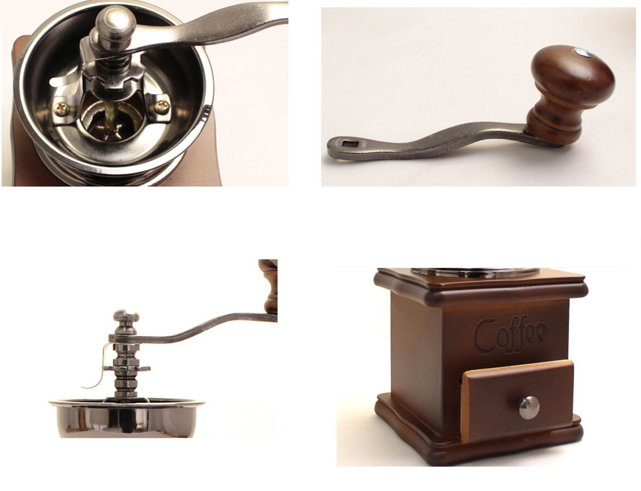 Vintage Mini Manual Coffeemaker Mill Wood Stand Metal Bowl Antique Hand Coffee Bean Grinder, Small,with Coffee Scoop Spoon by Kederastyle (Image #7)