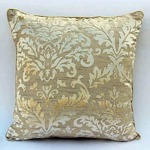The HomeCentric Designer Cream Throw Pillows Cover, Damask Pillows Cover, 16
