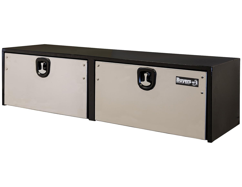14x16x36 Inch Buyers Products Black Steel Underbody Truck Box w//Stainless Steel Door 1703705