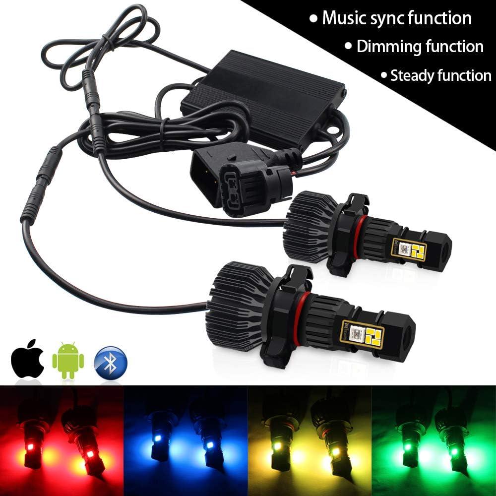 CIIHON H16 5202 RGB LED Fog Light Bulb 3020SMD Multicolor APP Bluetooth Control Not Headlight 1800LM Driving Daytime DRL Fog Lights Bulbs Pack of 2