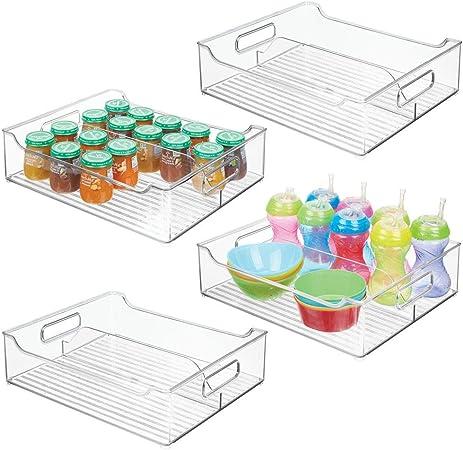 lot de 4 etc mDesign rangement chambre enfant transparent bac de rangement en plastique avec 1 grand casier pour jouets grand panier de rangement sans couvercle avec poign/ées pratiques