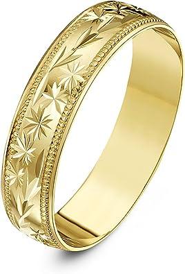 Theia Anillo de Bodas de Oro Amarillo o Oro Blanco, 9k, Peso Pesado, Forma D con Diseño de Hojas y Centro de Estrellas y bordes en Milgrain, 5mm: Amazon.es: Joyería