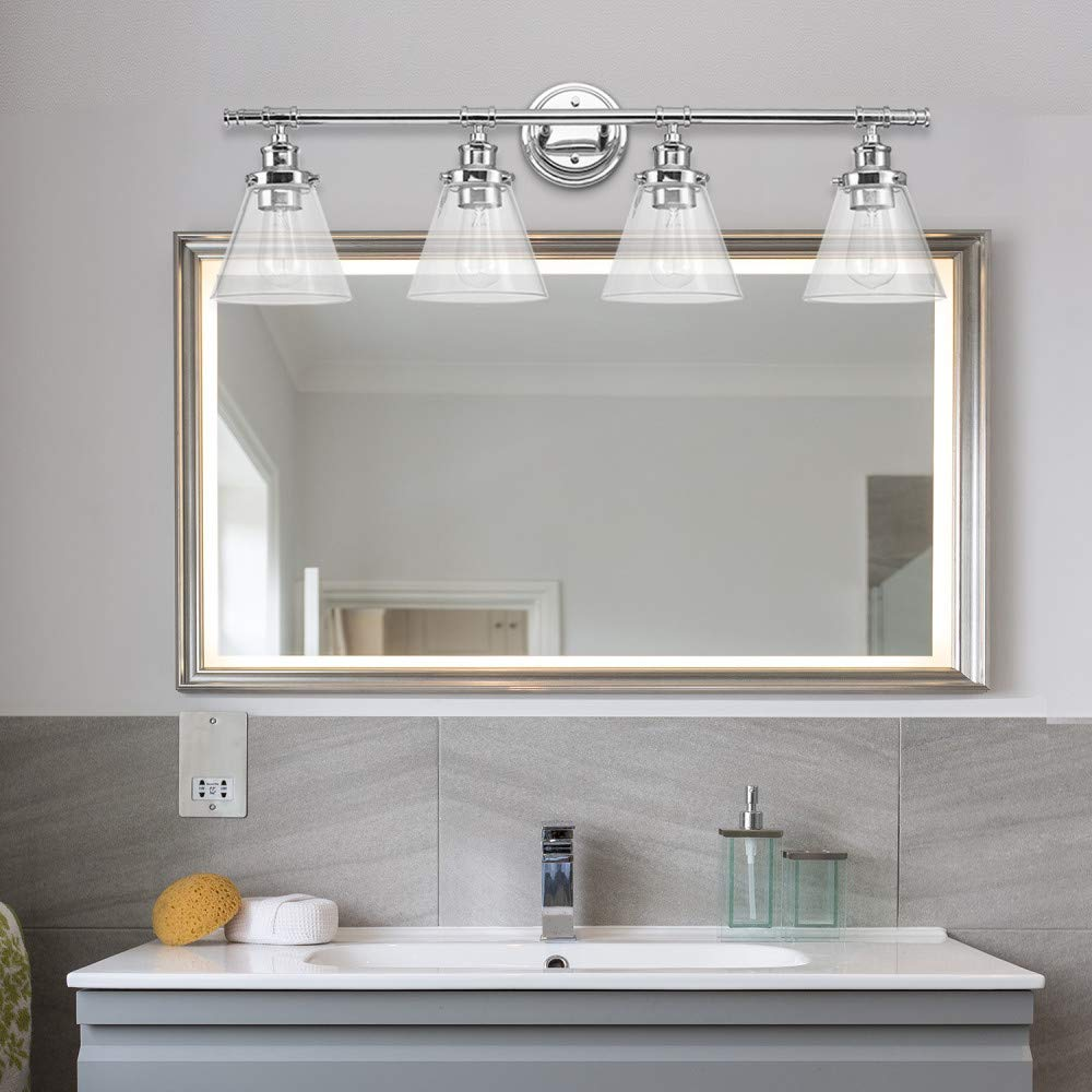Globe Electric 51446 Parker 4-Light Vanity Light, Chrome with Frosted Glass Shades by Globe Electric (Image #5)