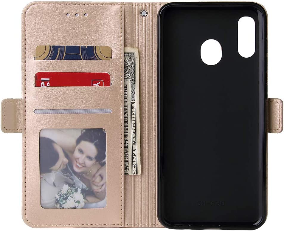 WIWJ Kompatibel mit Samsung Galaxy A40 H/ülle Rei/ßverschluss Lederh/ülle Wallet Handyh/ülle Klapph/ülle Ultra Slim Flip Case Stand Schutzh/ülle 360 Grad Bumper Tasche-Rose Gold