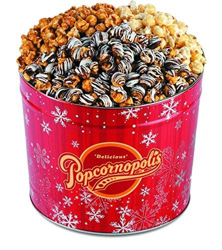 Popcornopolis Gourmet Popcorn 2 Gallon Red Snowflakes Tin - Premium