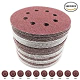 160 Pack Sanding Discs Pads Hook and Loop 40 60 80 100 120 150 180 240 320 400 Grits 8-Holes Sandpaper Assorted for Random Orbital Sander (160 Pack, Round)