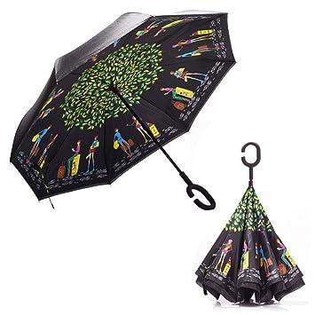 Sunhoyu - Paraguas reversible con mango en forma de C, paraguas de ...