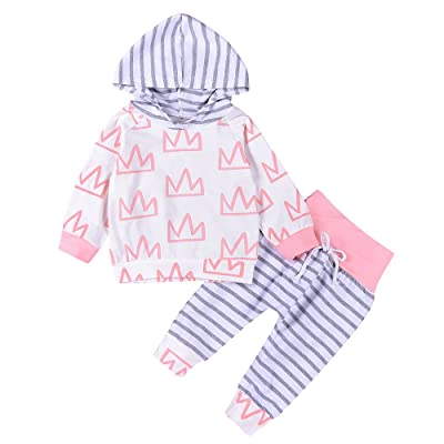 2Pcs Baby Girls Crown Printed Hoodies Top+ Striped Pant Winter Warm Outfits Clothes Set