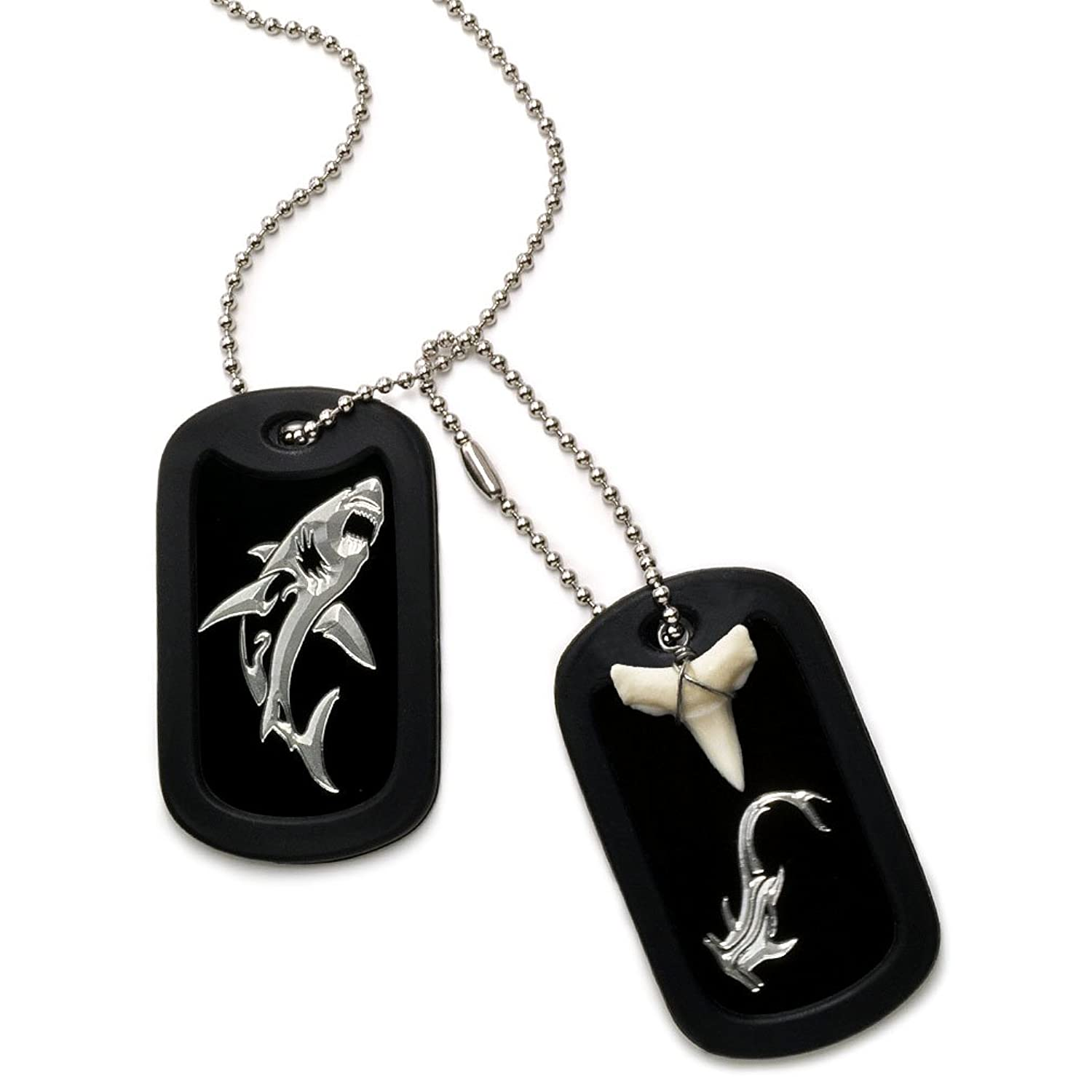 Made in USA Real Shark Tooth Necklace Aluminum Dog Tag with ...