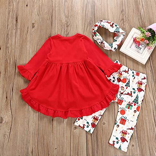 1b98b32e66413 Rucan Toddler Baby Girls Christmas Xmas Deer Snowman Print Dresses Pants  Clothing Set (D,