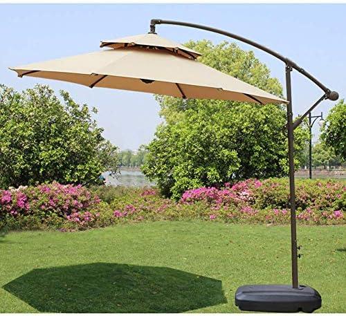 CHHDガーデンパラソル、パラソルパラソル傘、9Ftカンチレバー屋外テラス吊り傘、スタイリッシュなダブルトップ/ポリエステル生地/モバイルベース、5色をご用意