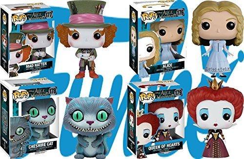 Pop! Disney: Alice in Wonderland Mad Hatter, Alice, Cheshire Cat and Queen of Hearts! Vinyl Figures Set of -