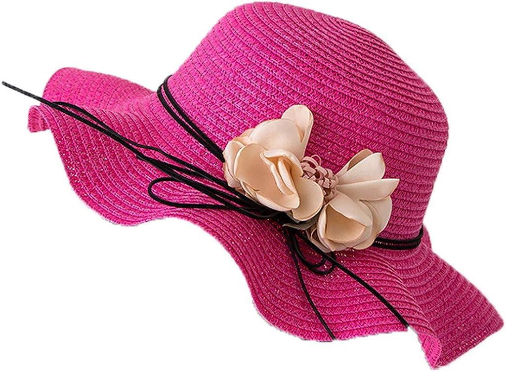 Sugely Ladies Wide Straw Foldable Travel Flower Sun Hat Summer Beach Caps,Ladies Straw hat,Visor,Wide Brim Sun Hat Summer UV Protection Beach Hat Safari Boonie Hat