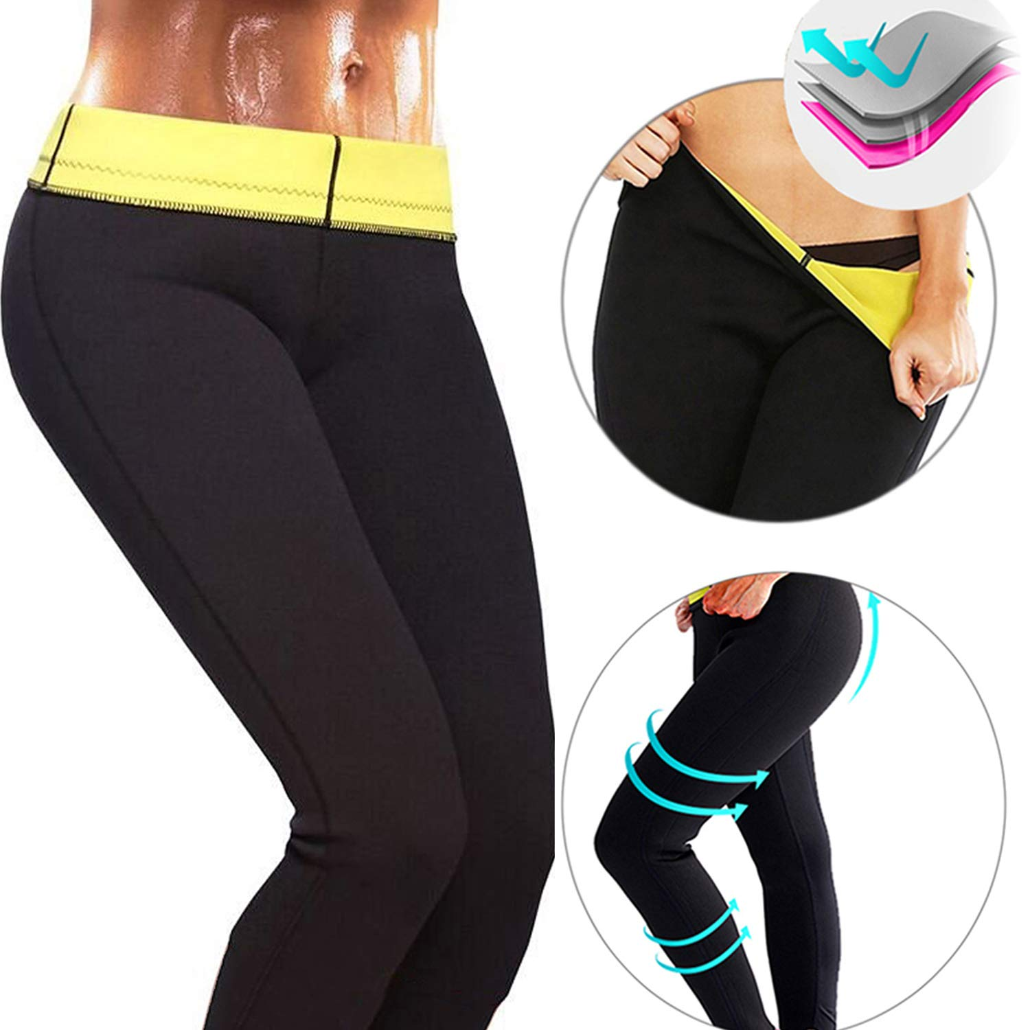 CROSS1946 Women's Slimming Long Pants leggings Yoga Hot Thermo Neoprene Sweat Sauna Body Shapers for Weight Loss