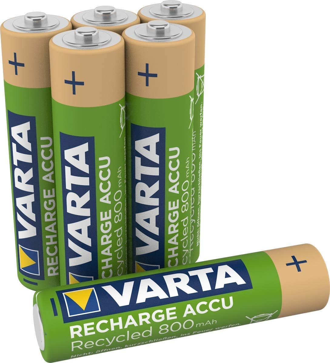 VARTA Recharge Accu Recycled, Pilas de NiMh AAA Micro rechargable (paquete de 6 unidades, 800 mAh) hechas con un 11% de materiales reciclados - Recargables sin efecto de memoria