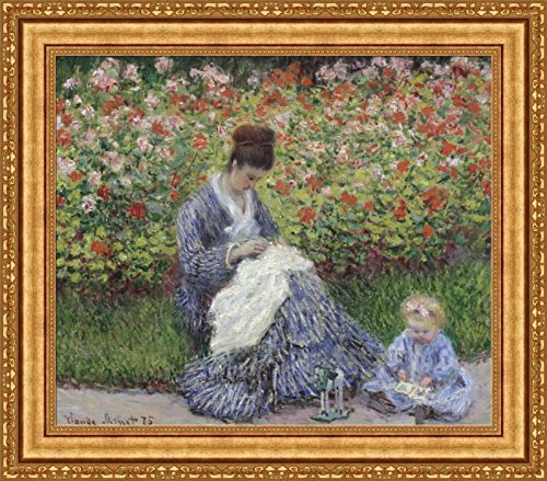 Claude Monet Camille Monet and a Child in the Artist Garden in Argenteuil Framed Canvas Giclee Print - Finished Size (W) 32.1'' x (H) 28.1'' [Gold] (V08-04K-MD535-01)