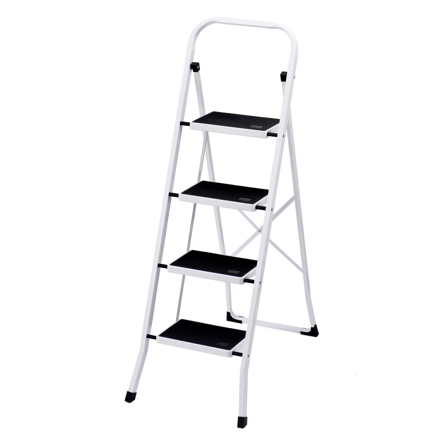 Delxo Folding 4 Step Ladder Ladder with Convenient Handgrip Anti-Slip Sturdy and Wide Pedal 330lbs Portable Steel Step Stool White and Black 4-Feet
