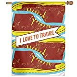 HUANGLING I Love To Travel Quote With Sport Shoes Grunge Vintage Home Flag Garden Flag Demonstrations Flag Family Party Flag Match Flag 27''x37''