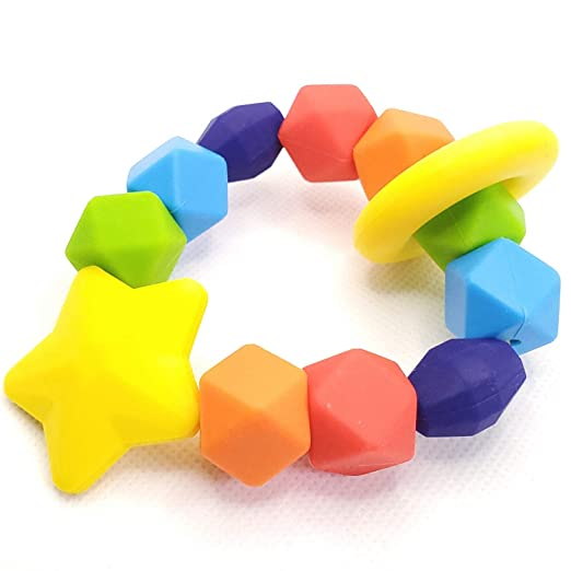 Silicone baby teething ring nursing sensory gift freeP/&P PERSONALISED MULTICOL