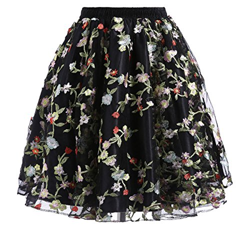 (DYS Women's Embroidered Floral Skirt Short A-line Casual Party Dress Vintage Multicolor C012 4XL/5XL)