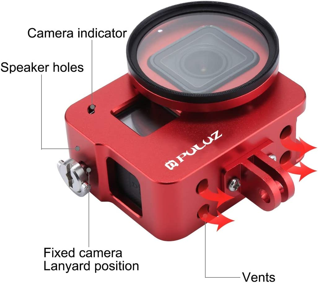 VKeyueDa Housing Shell CNC Aluminum Alloy Protective Cage with 52mm UV Lens for GoPro Hero Black 2018 //7 Black //6//5 Color : Red VKeyueDa