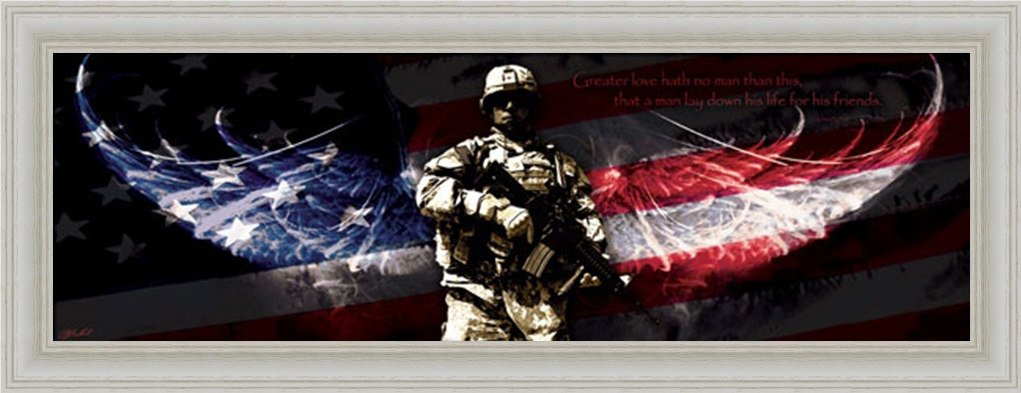 Amazon.com: No Greater Love Patriotic Soldier 20x8 Framed Art Print Picture  By Jason Bullard: Framed American Flag: Posters U0026 Prints