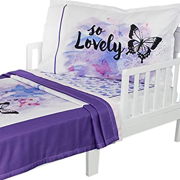 finest selection bba28 11119 3pc RoomCraft Oh So Lovely Toddler Bedding Set Purple Butterfly Blanket  Sheet and Pillowcase Set