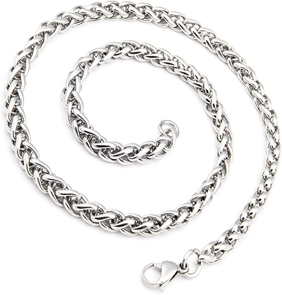 HAMANY Mens Stainless Steel Necklace Link Chain Silver Color Polished with 1X Velvet Bag