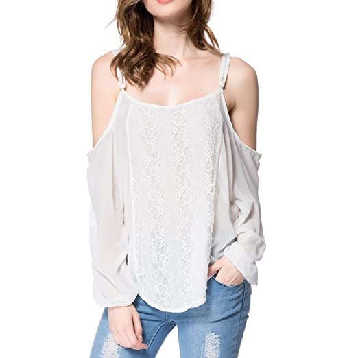 313d6695c2b81a Ularma Fashion Womens Camisole Pure Color Long Sleeves Lace Splicing Shirt  Blouse Tops at Amazon Women's Clothing store:
