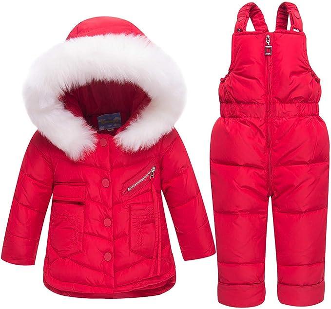 Staringirl 2 Pcs Baby Kids Boys and Girls Winter Warm Hooded Fur Trim Snowsuit Puffer Down Jacket with Ski Bib Pants Clothes