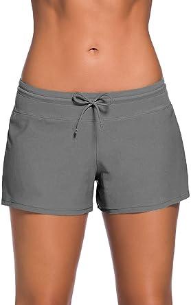 Short de Bain Femme Bas de Maillot de Bain Shorty Sport Shorts de Plage avec Cordon