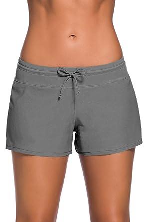 détaillant en ligne c99bd 97697 Short de Bain Femme Bas de Maillot de Bain Shorty Sport Shorts de Plage  avec Cordon