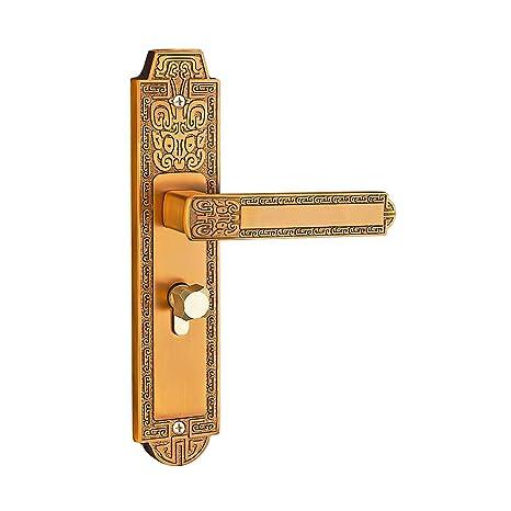 Zhi Jin Vintage latón entrada manilla para puerta cerradura con llaves sala hardware partes paso jedo