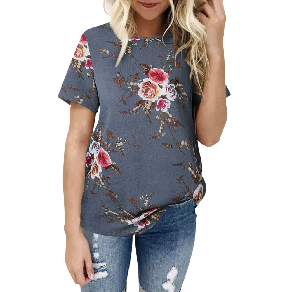 Women Short Sleeve Tee BXzhiri Floral Printing Blouse Casual Loose Pullover Tops Gray