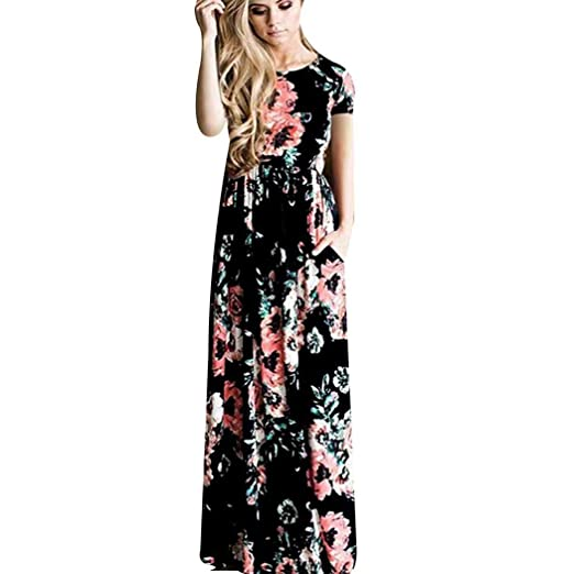 b75f721c4 loukou Women Short Sleeve Round Neck Floral Print Dress Elegant Long Maxi  Dress Dresses at Amazon Women's Clothing store: