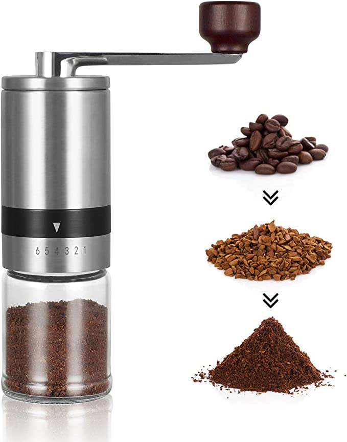 MAOYIYI Molino Manual De Caf/é Port/átil Molino Manual De Caf/é Coffee Grinder Desmontable Lavable Picnic Familia,A