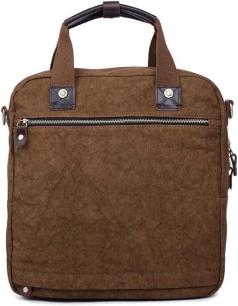 Color : Green HEMFV Retro Personality Crazy Horse Leather Canvas Shoulder Bag Fashion Casual Mens Handbag Briefcase