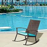 Kinbor Wicker Rocking Chair Outdoor Patio Porch Garden Chairs Rattan Lounge w/Cushion,Blue (Blue-1)
