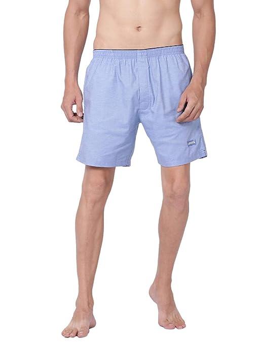 [Size : M & L] Levi's Men's Soft Cotton 300 LS Solid Plain Woven Boxer Shorts With Pockets (Pack of 1)