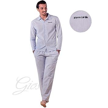 Pijama Hombre Algodón Botones bolsillos rayas manga larga Pierre Cardin GIOSAL, Hombre, gris