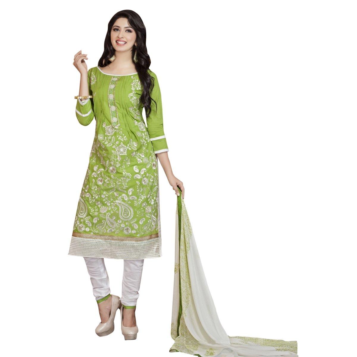 Shilp-Kala Remarkable Green Colored Embroidered Blended Cotton Salwar Kameez 712 SKTSMDESK712