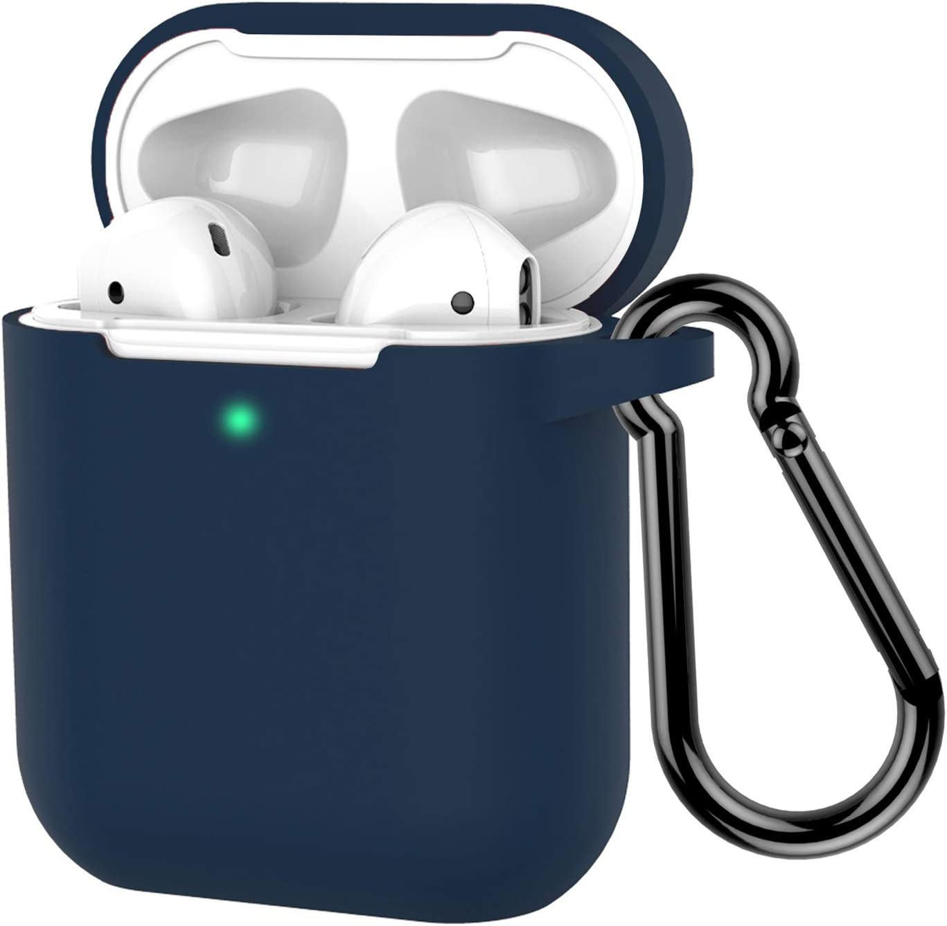 Coffea Protective Silicone Case with Keychain for Apple AirPods 2 (Navy)