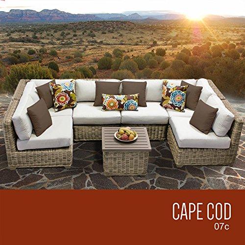 TK Classics 7 Piece Cape Cod-07C Outdoor Wicker Patio Furniture Set, Beige price