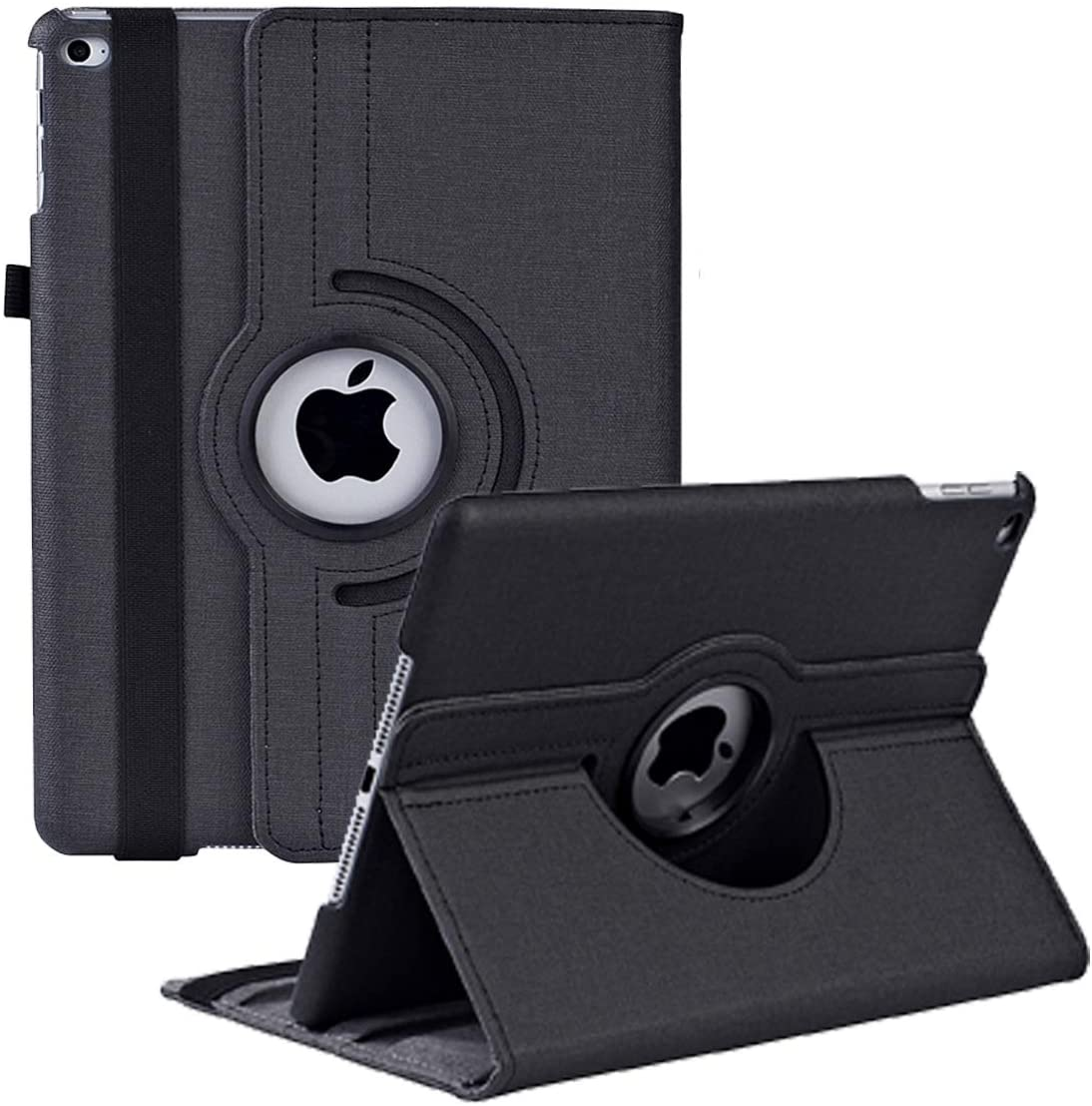 Case for iPad 5th/6th Generation 9.7 inch 2018 2017/ipad air 2 Lightweight Smart Anti-Scratch Advanced Leather 360 Degree Rotating Stand Apple Cover with Auto Wake/Sleep (Black)